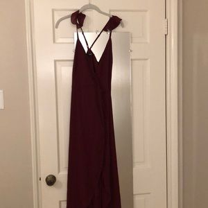 Lulus maroon high-low warp dress